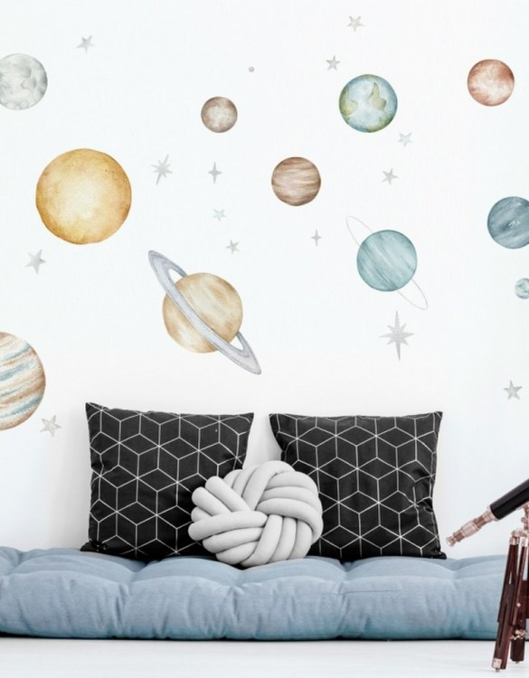 A beautiful scene for children's rooms and nurseries, the Planets Children's Wall Sticker is the perfect addition to any empty space (like walls or furniture). These wall stickers provide a flexible and cost-effective way to decorate your home.