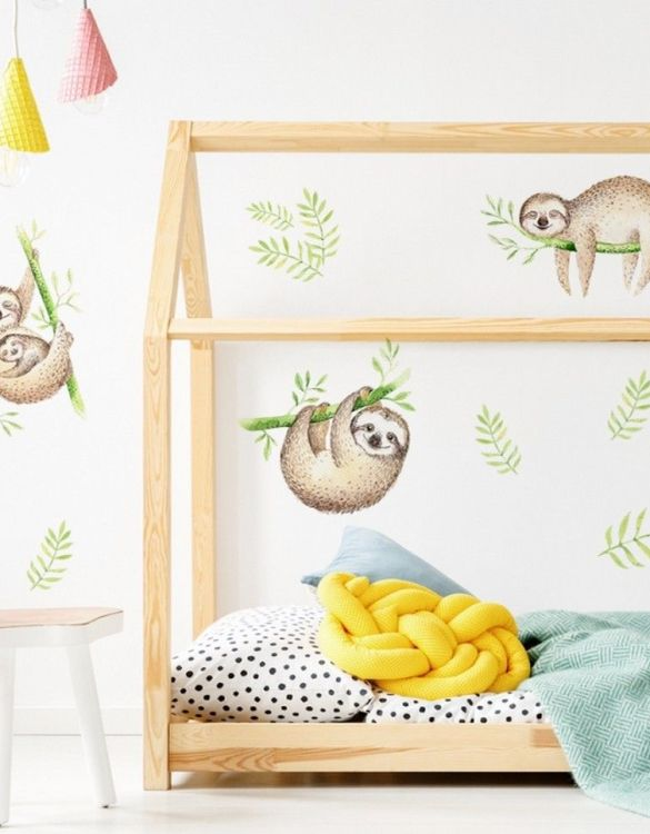 A beautiful scene for children's rooms and nurseries, the Sloth Children's Wall Sticker is the perfect addition to any empty space (like walls or furniture). These wall stickers provide a flexible and cost-effective way to decorate your home.
