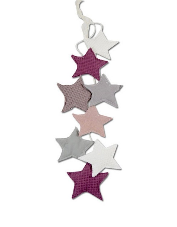 The ideal gift for a new baby or a Christening present, the Star Garland Blueberry makes a fab addition to a party or a little one's room. A gentle garland will decorate your nursery room and contribute to the development of the baby.