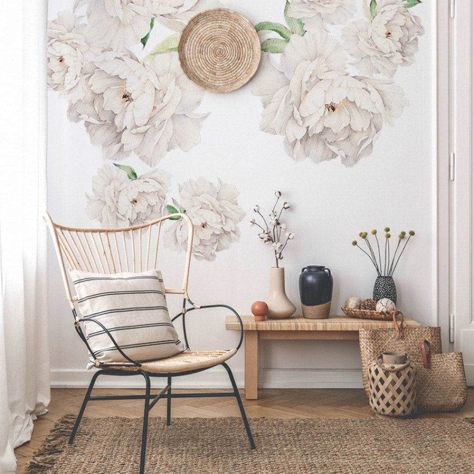 White Peony Children's Wall Sticker