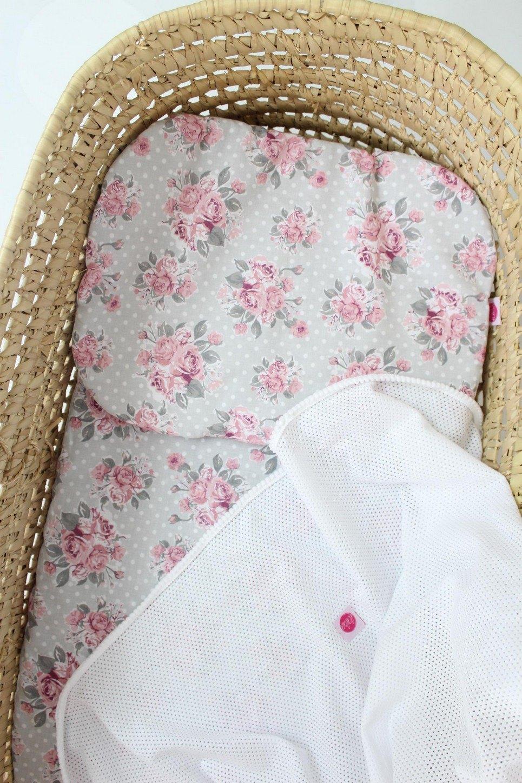 Flowers White Moses Basket Bedding Set