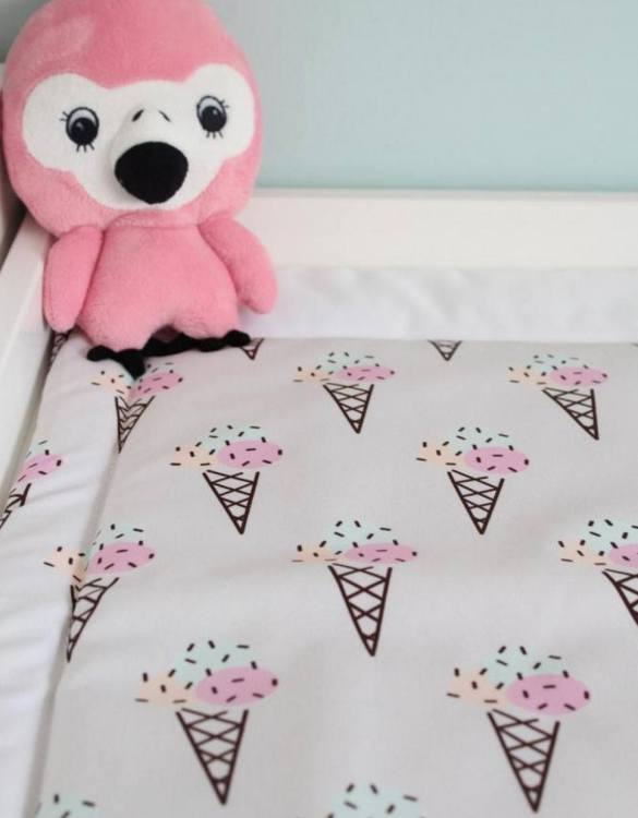 A perfect gift for a new baby, the Ice Cream Waterproof Winding Mat is ideal for keeping the little one comfortable and snuggly while changing. Super practical and stylish with a waterproof lining and it comes in your favourite prints.