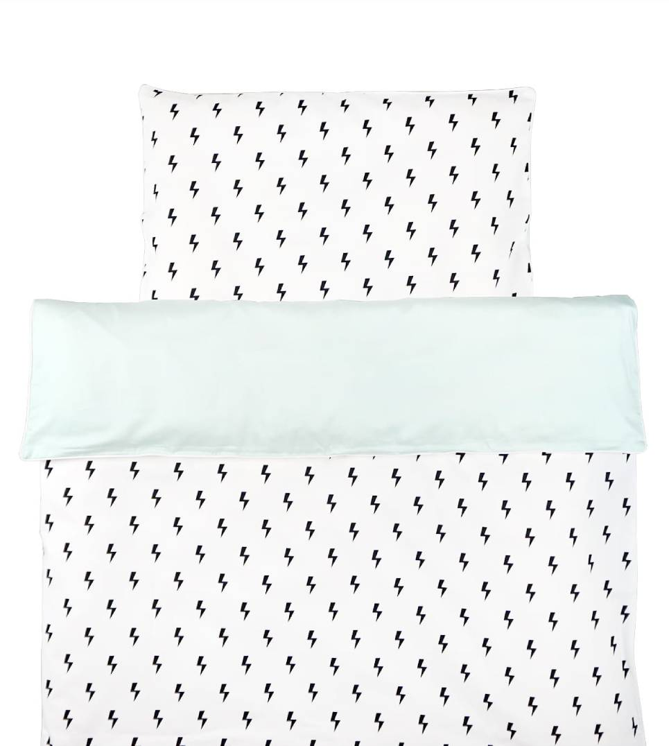 Lightning Bolts with Pastel Mint Duvet Cover Set