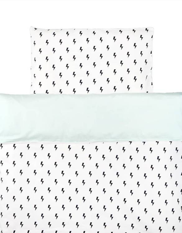 Perfect as a newborn pillow, the Lightning Bolts with Pastel Mint Duvet Cover Set is a great addition for a nursery, children's room, baby crib, or kid's playroom. It makes the perfect gift!