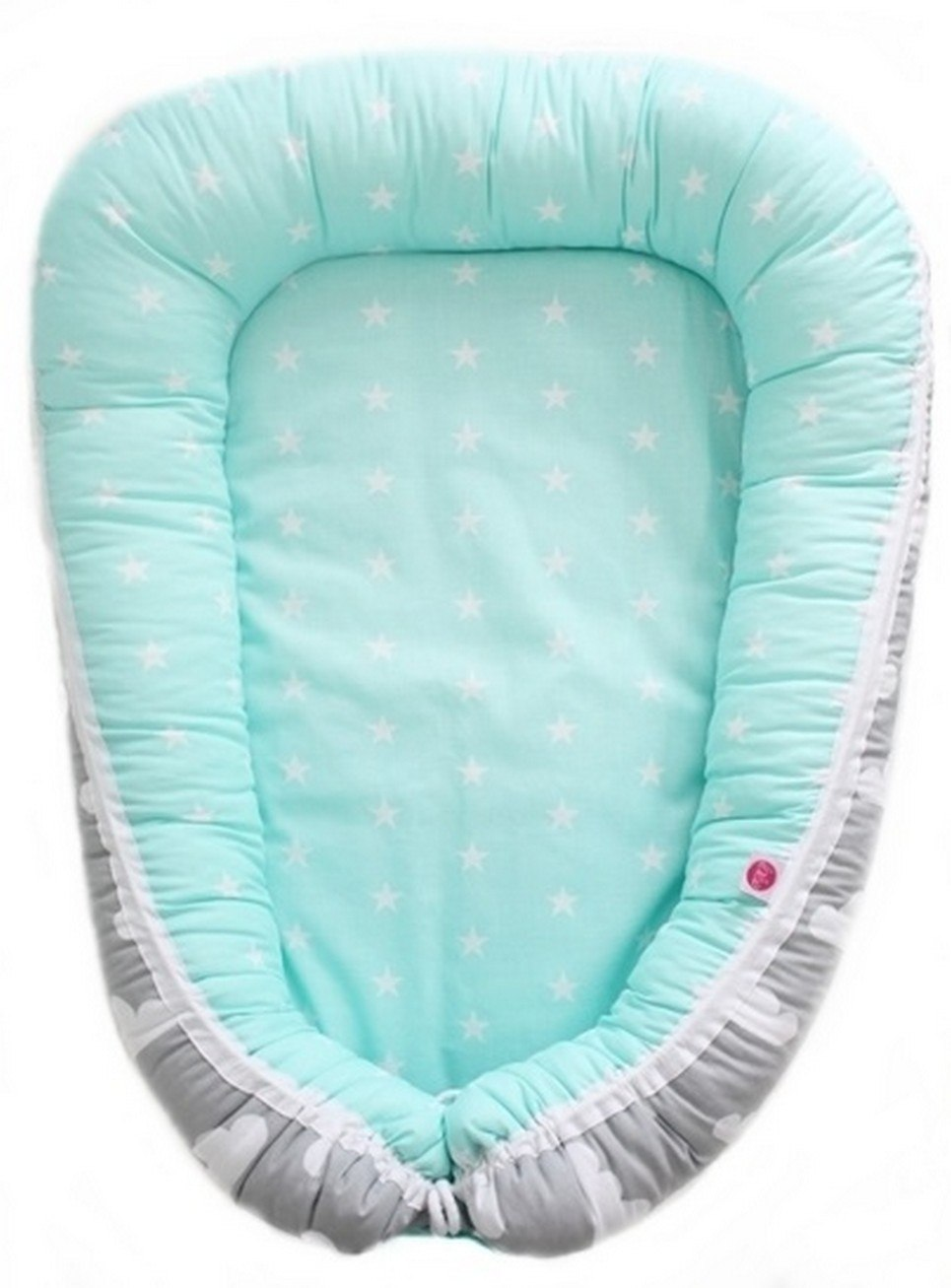Mint and Grey Hearts Baby Cocoon