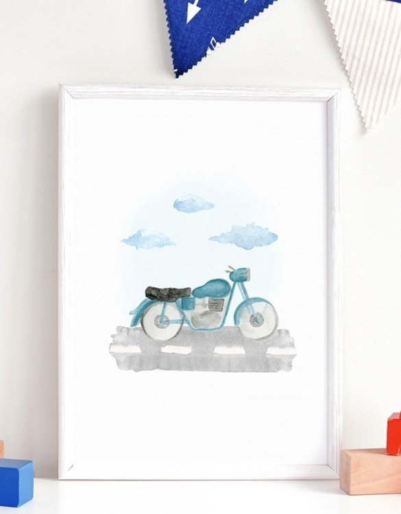 A unique keepsake that will create enchanting memories, the Motorcycle Children's Poster is a really unique and eyecatching print that is loved by kids and adults. Encourage their wild side with this fun print. Designed in a playful font, they will make a great addition to any nursery, child's room, or playroom.