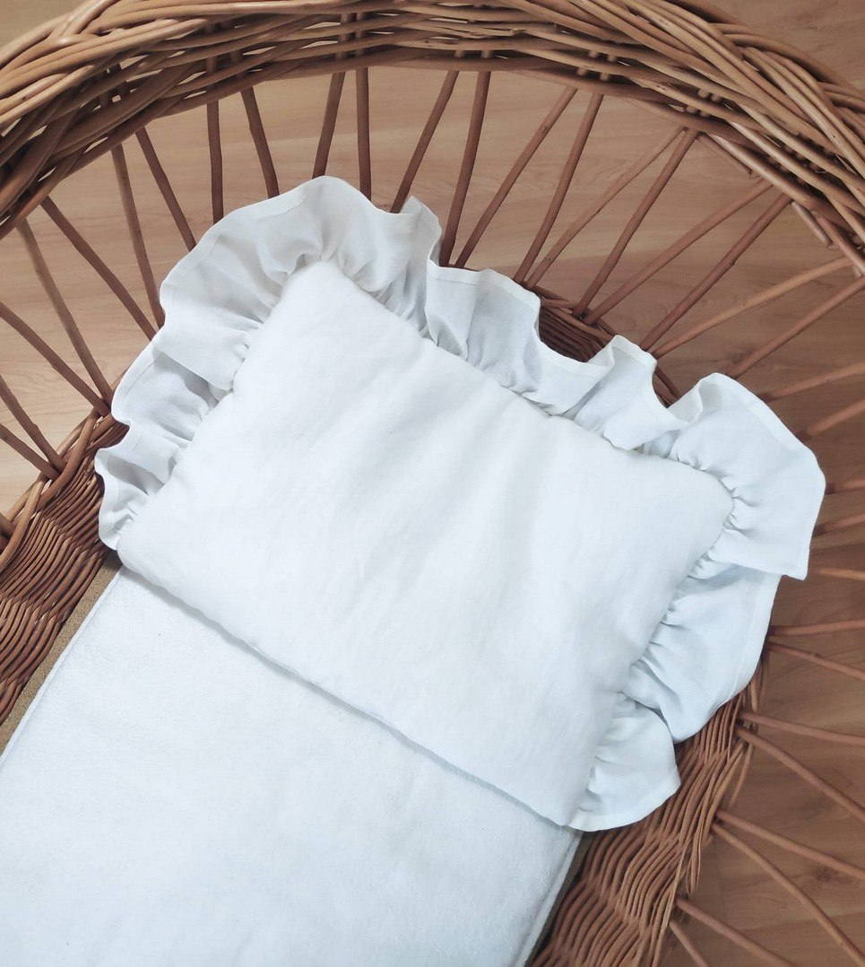 White Baby Pillow With Ruffle