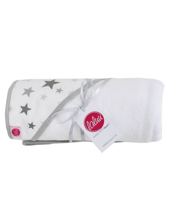 Keep your or a friend's little one warm and dry with the Gray Stars Baby Bath Towel. This hooded baby towel super soft and perfect for wrapping up your little one after a bath.