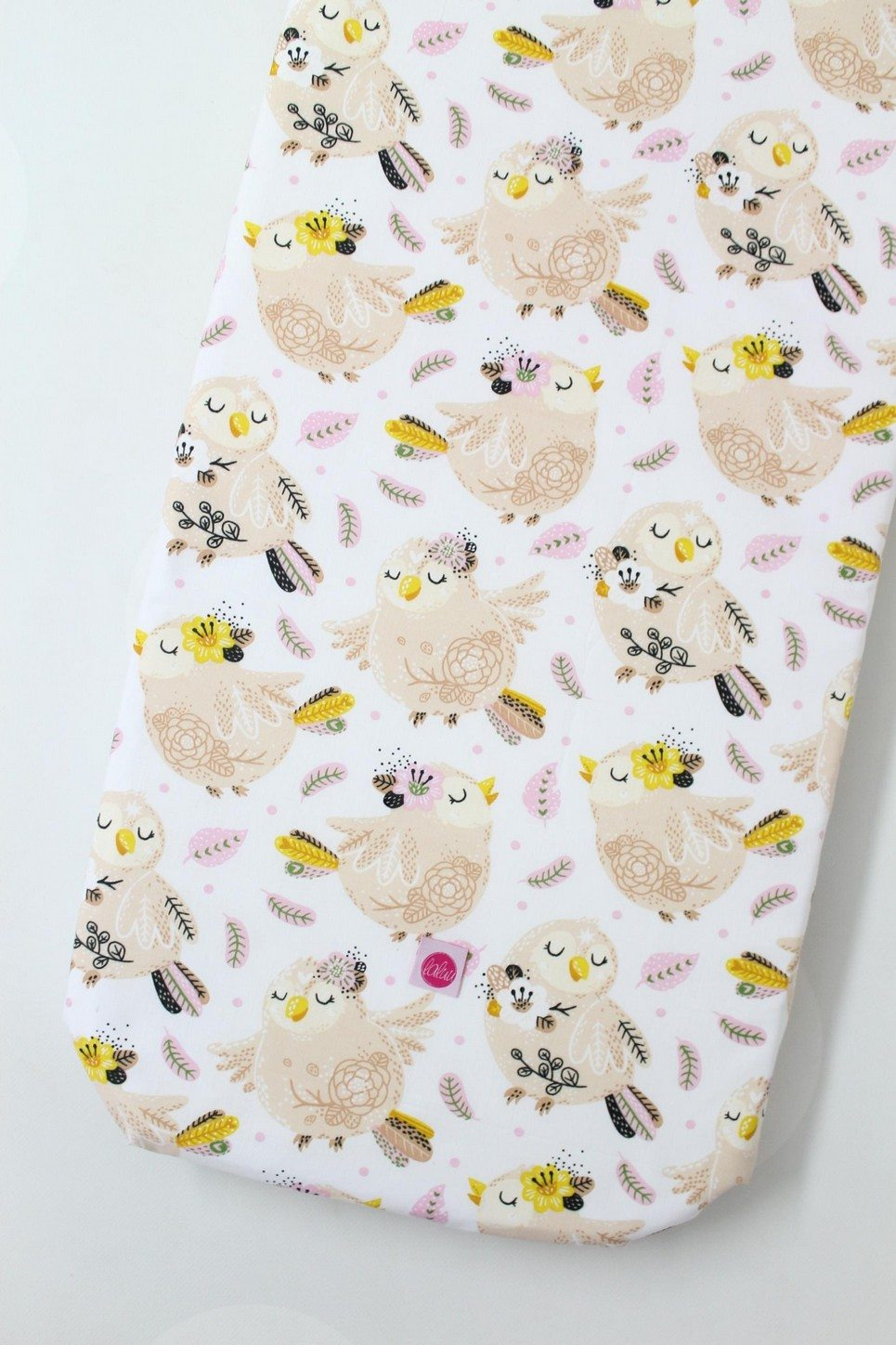 Pink Birds Fitted Crib Sheet