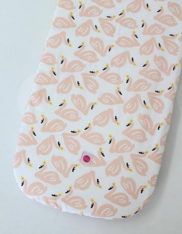 Perfect as a gender-neutral choice, the Salmon Swans Fitted Crib Sheet will fit any crib bed or next to me pods. This fitted cot sheet is a perfect addition to spruce up your little bub's nursery.