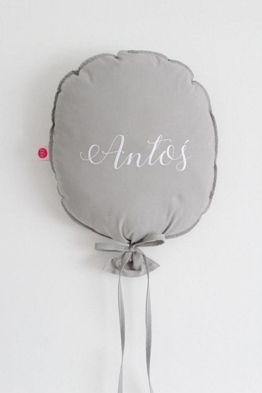 Dark Grey Personalized Balloon Pillow