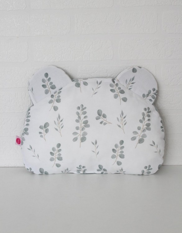 Beautifully soft and cuddly, the Eukaliptus Teddy Bear Baby Pillow is an adorable gift for a baby shower and also for nursery or kids' room decoration. This baby head pillow can be used with car seats, strollers, and baby prams.