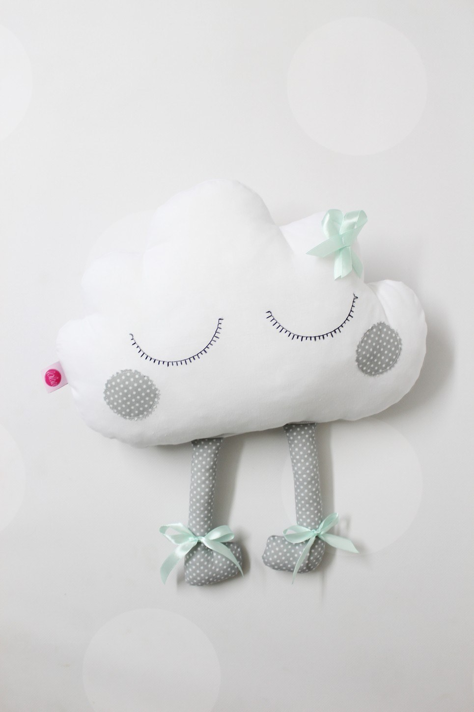 Gray and Mint Cloud with Embroidery