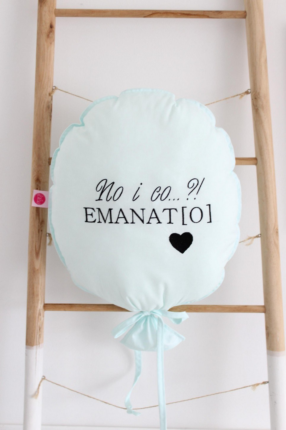 Mint with Black Personalized Balloon Pillow