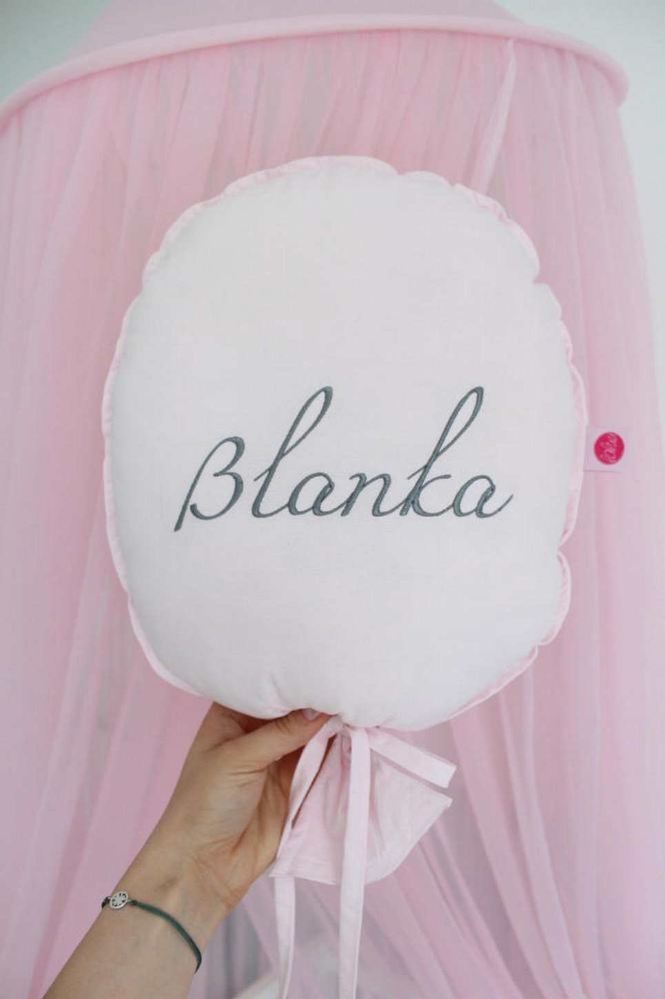 Pink Personalized Balloon Pillow