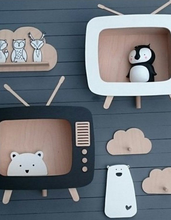 The perfect way to display your treasures, the Retro TV Children's Wall Shelf is a beautiful addition to any child's bedroom or playroom! Put decorations, stuffed animals or smaller toys on the shelf and get a unique element of a children's room.