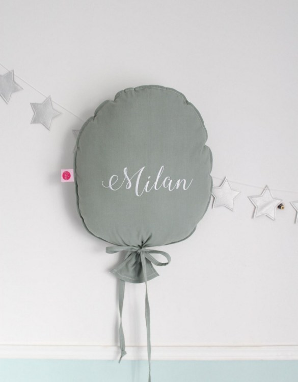 Perfect to bring the child inside everyone, the Sage Personalized Balloon Pillow is a wonderfully decorative and timeless addition to any child's room. This beautiful nursery balloon pillow is made from soft and cosy cotton.