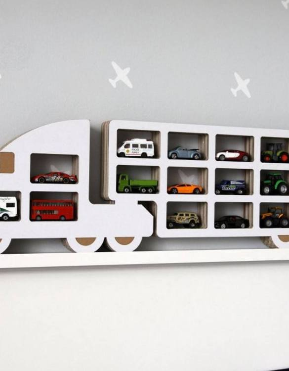 The perfect way to display your treasures, the Truck Children's Wall Shelf is a beautiful addition to any child's bedroom or playroom! Put decorations, stuffed animals or smaller toys on the shelf and get a unique element of a children's room.