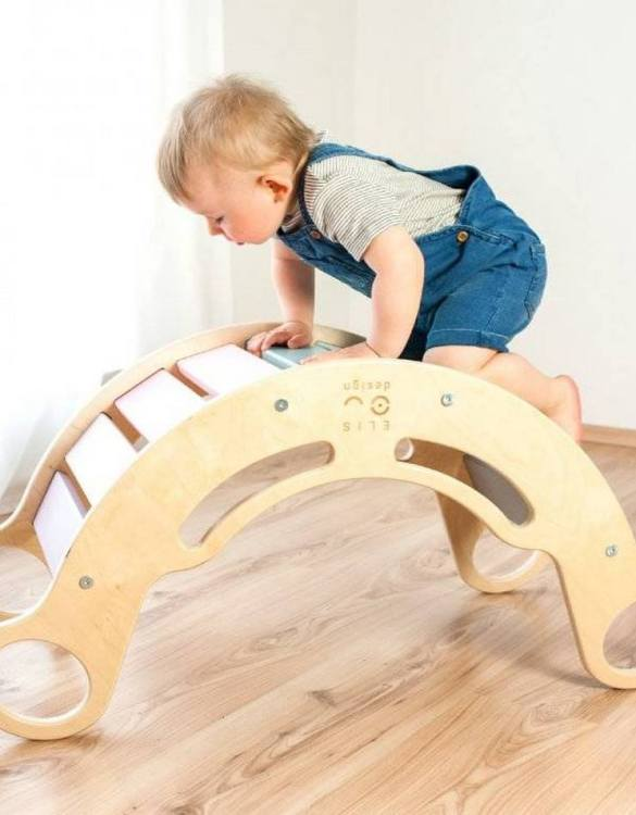 A great choice for playtime, the 5in1 Natur Rainbow Montessori Balance Board will quickly become your household's most beloved toy as well. This rocking toy will stimulate your toddler's senses, awaken their imagination, strengthen muscles and will promote the development of balance.