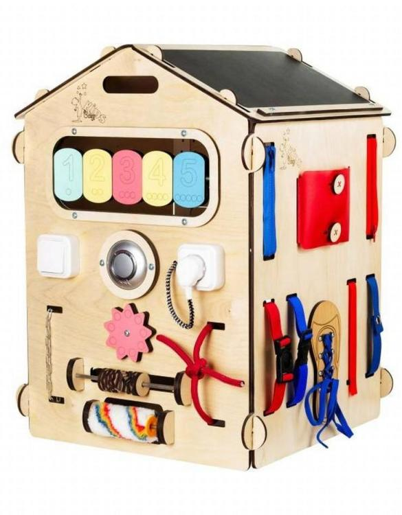Practical, educational, and decorative educational game, the Kindergarten House Activity Board keeps children busy for a long time, which gives parents a little free time.