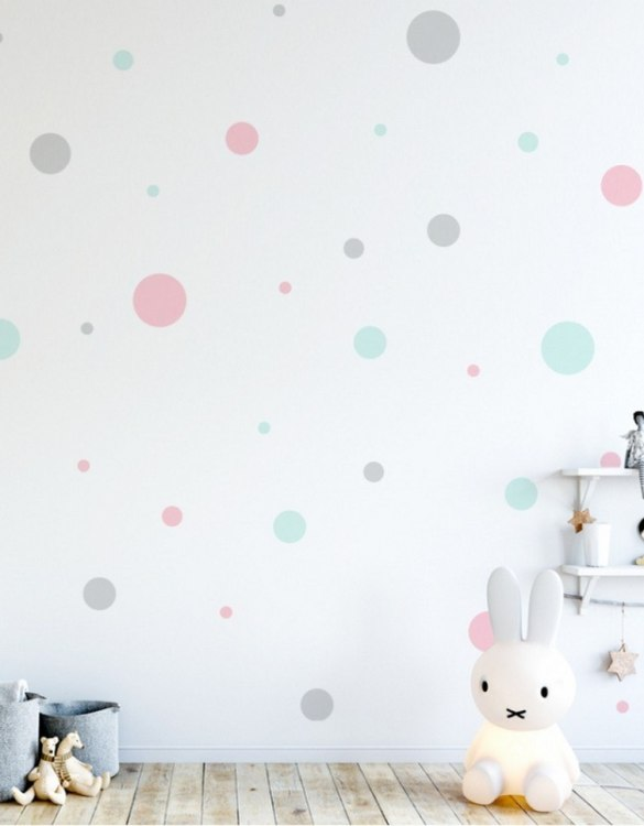 A beautiful scene for children's rooms and nurseries, the Pastel Dots Children's Wall Sticker is the perfect addition to any empty space (like walls or furniture). These wall stickers provide a flexible and cost-effective way to decorate your home.