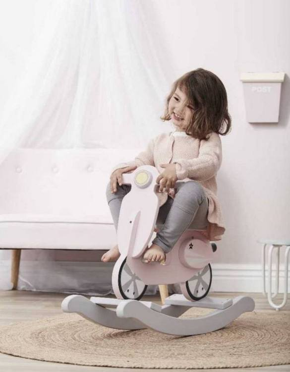 Safe for all ages 18 months and up, the Pink Scooter Children's Rocking Toy is certainly an original accessory that all your friends will envy your child. This beautiful wooden rocking toy is a lovely and unusual gift that will be enjoyed now and by future generations.