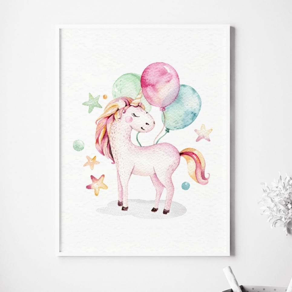 Unicorn With Balloons Children's Poster