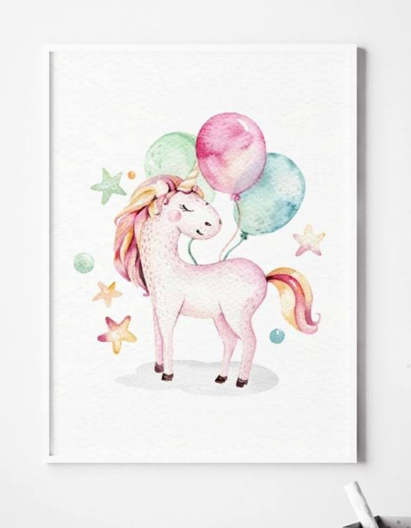 A unique keepsake that will create enchanting memories, the Unicorn With Balloons Children's Poster is a really unique and eyecatching print that is loved by kids and adults. Encourage their wild side with this fun print. Designed in a playful font, they will make a great addition to any nursery, child's room, or playroom.