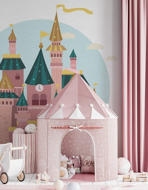 Sure to be adored by little ones, the Castle Children's Wallpaper is a fun addition to any nursery or playroom. Go on an adventure with our kid's wallpaper for children's rooms! A well-chosen pattern can visually enlarge the interior.