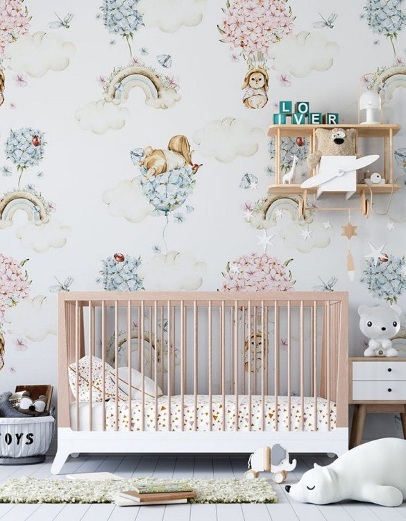 Sure to be adored by little ones, the Colorful Pastel World Children's Wallpaper is a fun addition to any nursery or playroom. Go on an adventure with our kid's wallpaper for children's rooms! A well-chosen pattern can visually enlarge the interior.