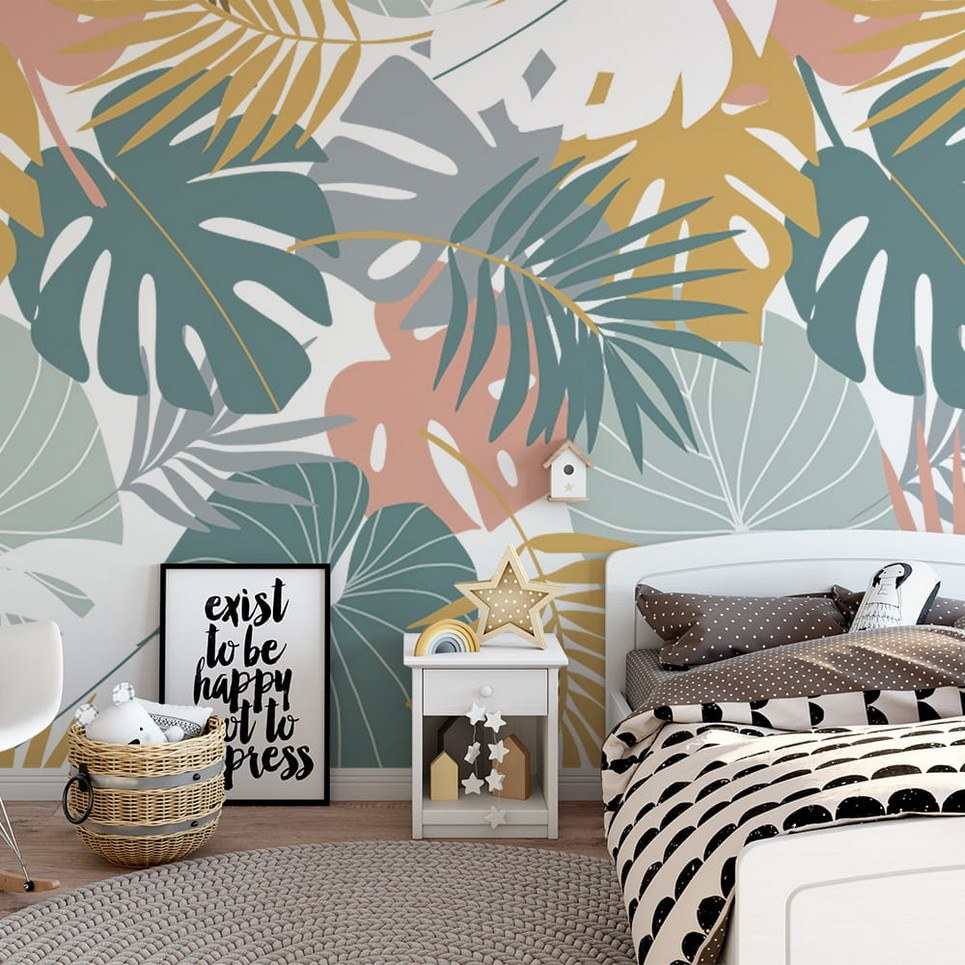 Colorful Tropical Leaves Children's Wallpaper