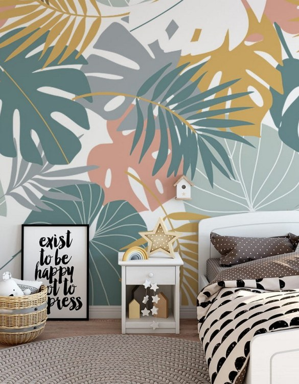 Sure to be adored by little ones, the Colorful Tropical Leaves Children's Wallpaper is a fun addition to any nursery or playroom. Go on an adventure with our kid's wallpaper for children's rooms! A well-chosen pattern can visually enlarge the interior.