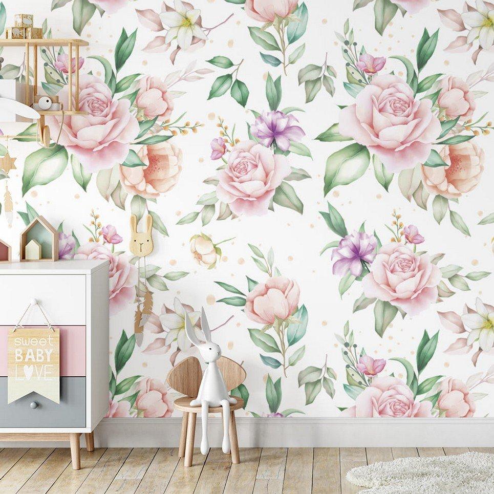 Decorative Pastel Flowers Children's Wallpaper
