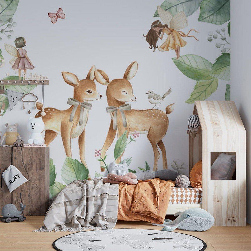 Deers and Fairies Children's Wallpaper