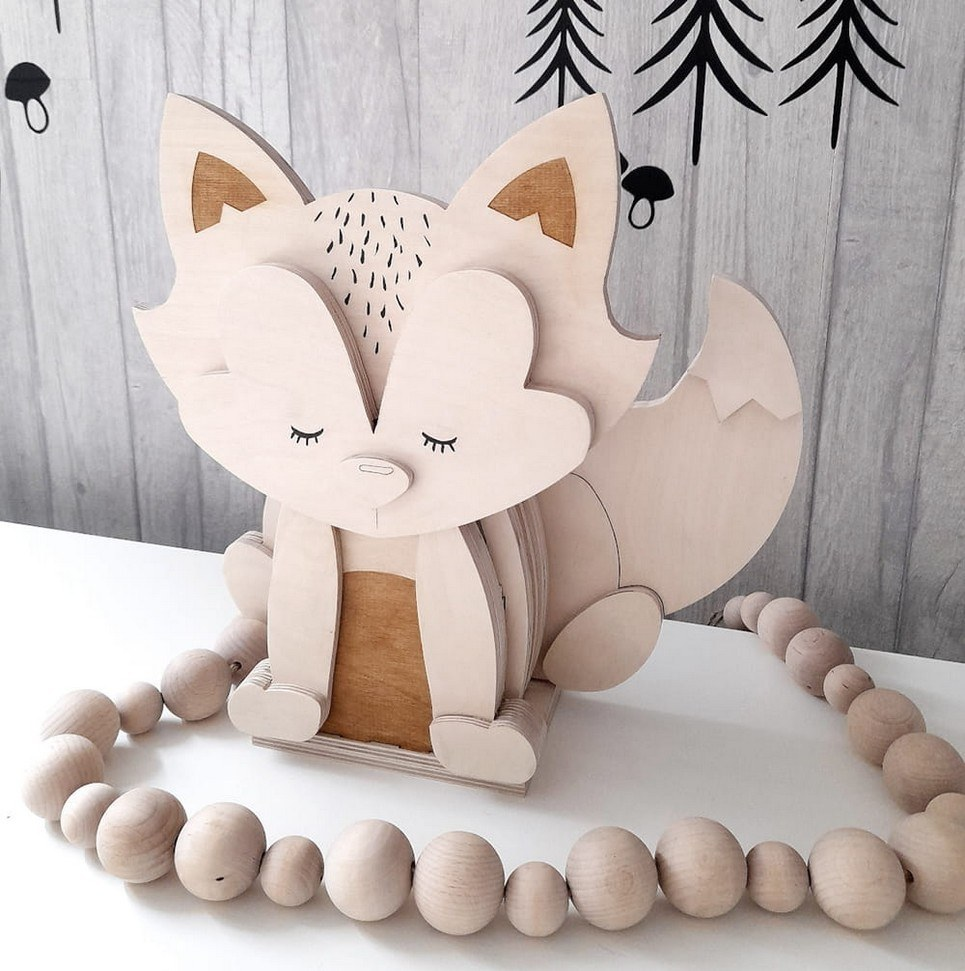 Fox 3D Wooden Lamp for Children