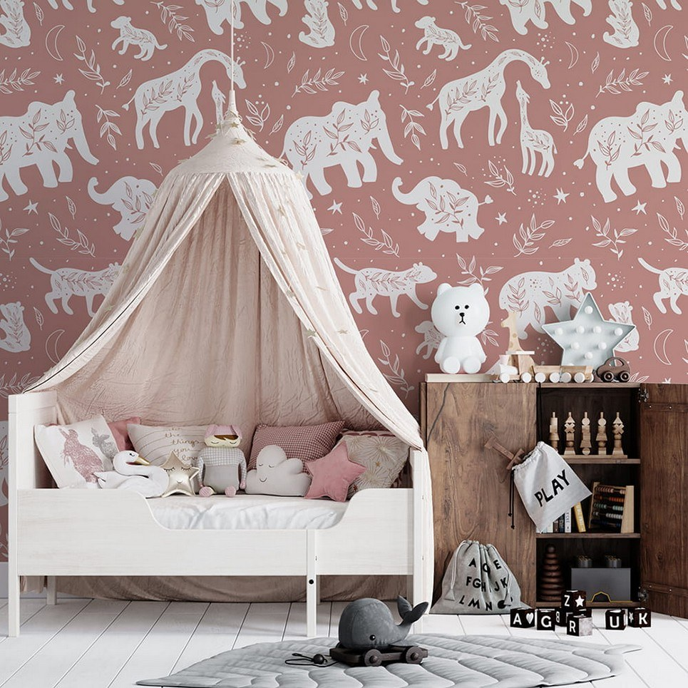 Giraffes and Elephants Children's Wallpaper