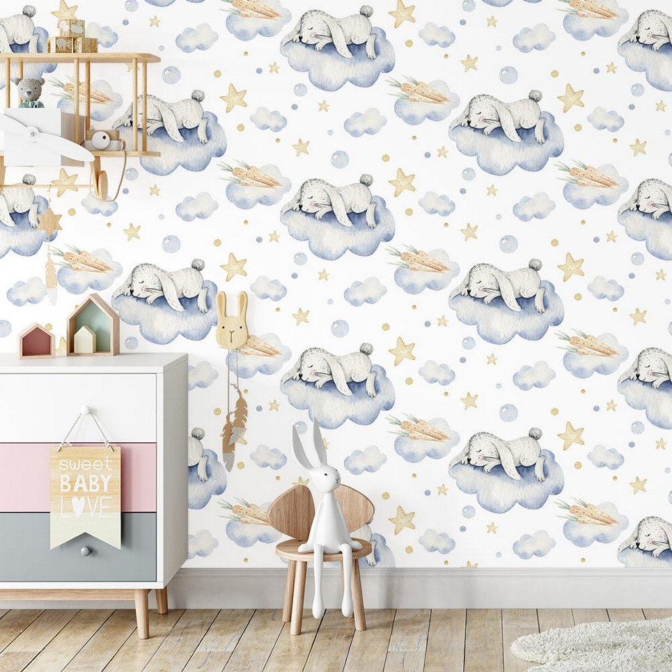 Hare Sweet Sleepers Children's Wallpaper