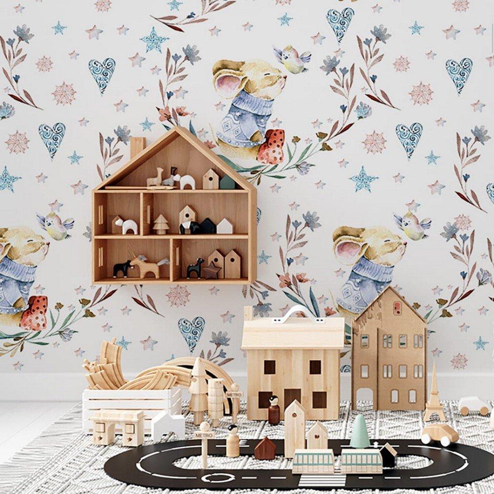 Mouse and Bird Children's Wallpaper