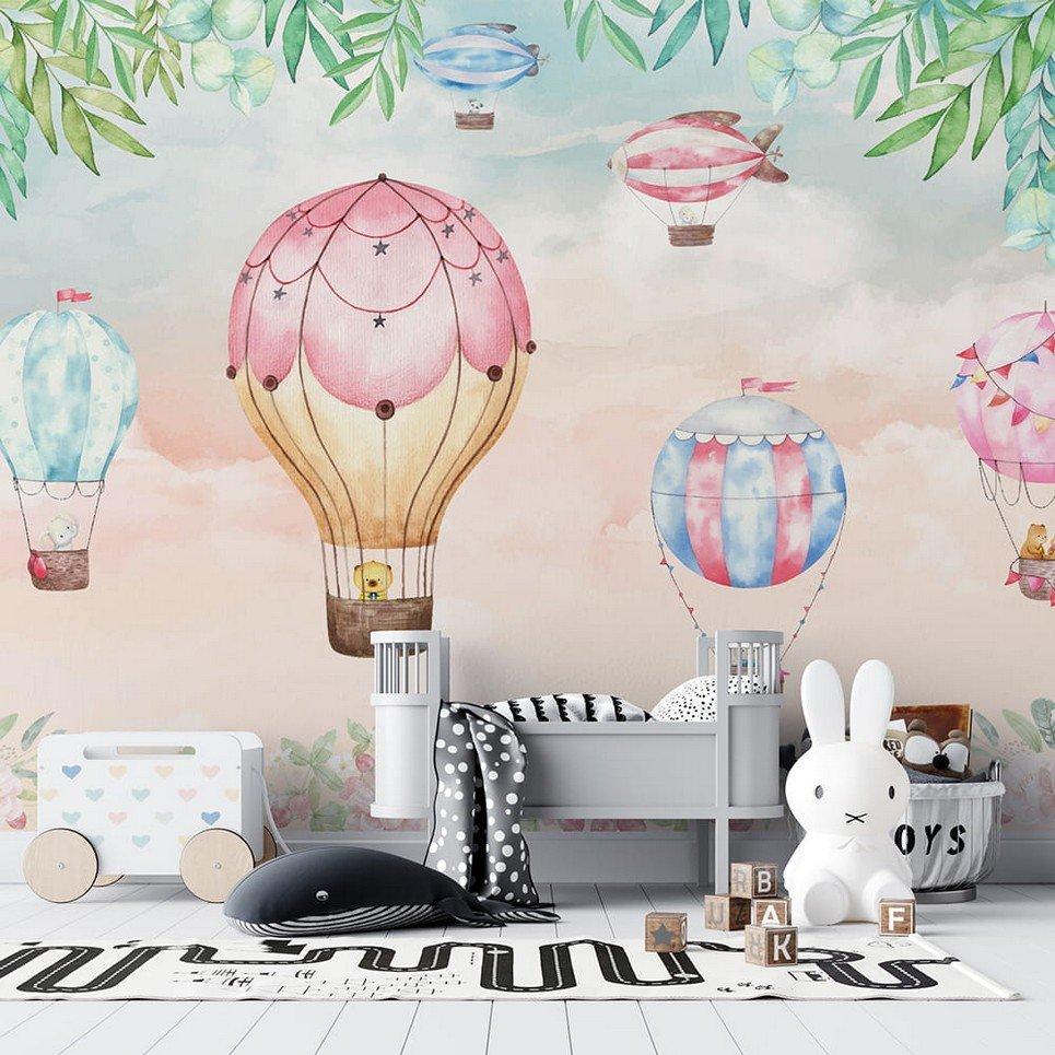 Pastel Sky and Balloons Children's Wallpaper