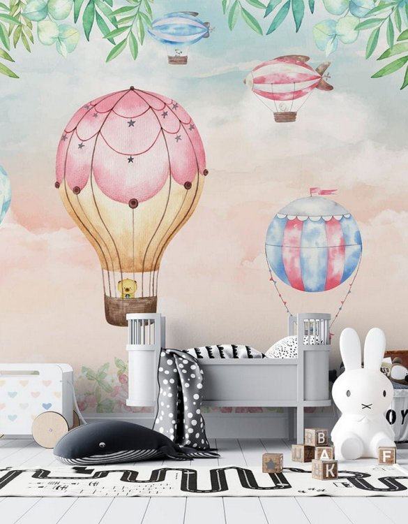 Sure to be adored by little ones, the Pastel Sky and Balloons Children's Wallpaper is a fun addition to any nursery or playroom. Go on an adventure with our kid's wallpaper for children's rooms! A well-chosen pattern can visually enlarge the interior.