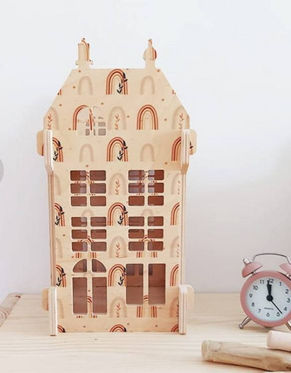 """With a beautiful design, the Rainbows Wooden Children's Dolls House has been created not only for great fun, but also are a unique decoration for children's rooms. Toys that help to pretend to be """"adults"""", such as mini-cookers, prams, or dollhouses are very important in the development of a child."""