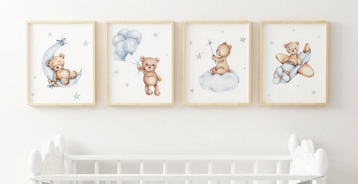 These cute bear nursery ideas will make your little one smile. A nursery like this one would be perfect for a boy, girl, or gender-neutral child. Also, it would make a great woodland theme. You can find adorable bear signs, cot bumpers, wall décor and more to help you decorate your perfect nursery or to get a great idea for a baby shower gift.