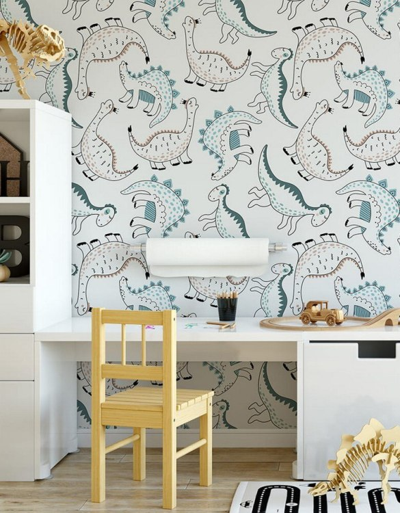 Sure to be adored by little ones, the Dinosaurs 4 Children's Wallpaper is a fun addition to any nursery or playroom. Go on an adventure with our kid's wallpaper for children's rooms! A well-chosen pattern can visually enlarge the interior.