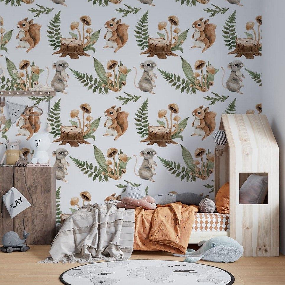 Forest Meetings Children's Wallpaper