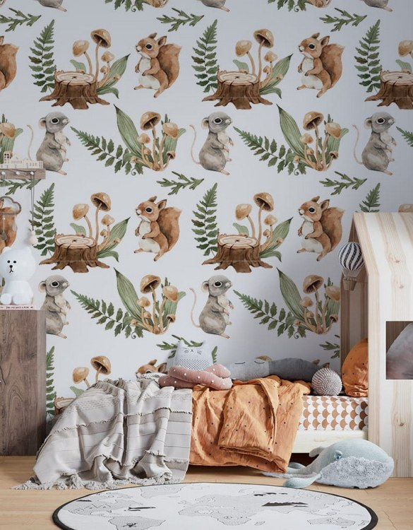 Sure to be adored by little ones, the Forest Meetings Children's Wallpaper is a fun addition to any nursery or playroom. Go on an adventure with our kid's wallpaper for children's rooms! A well-chosen pattern can visually enlarge the interior.