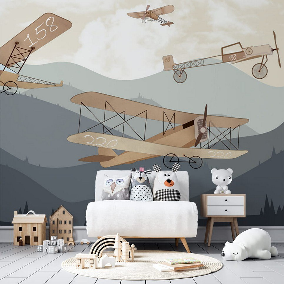 Retro Airplanes and Mountains Children's Wallpaper