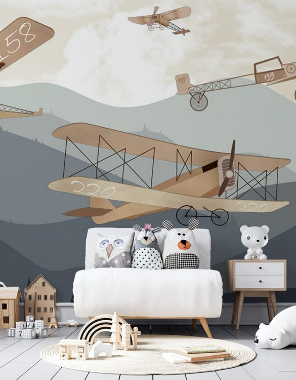 Sure to be adored by little ones, the Retro Airplanes and Mountains Children's Wallpaper is a fun addition to any nursery or playroom. Go on an adventure with our kid's wallpaper for children's rooms! A well-chosen pattern can visually enlarge the interior.