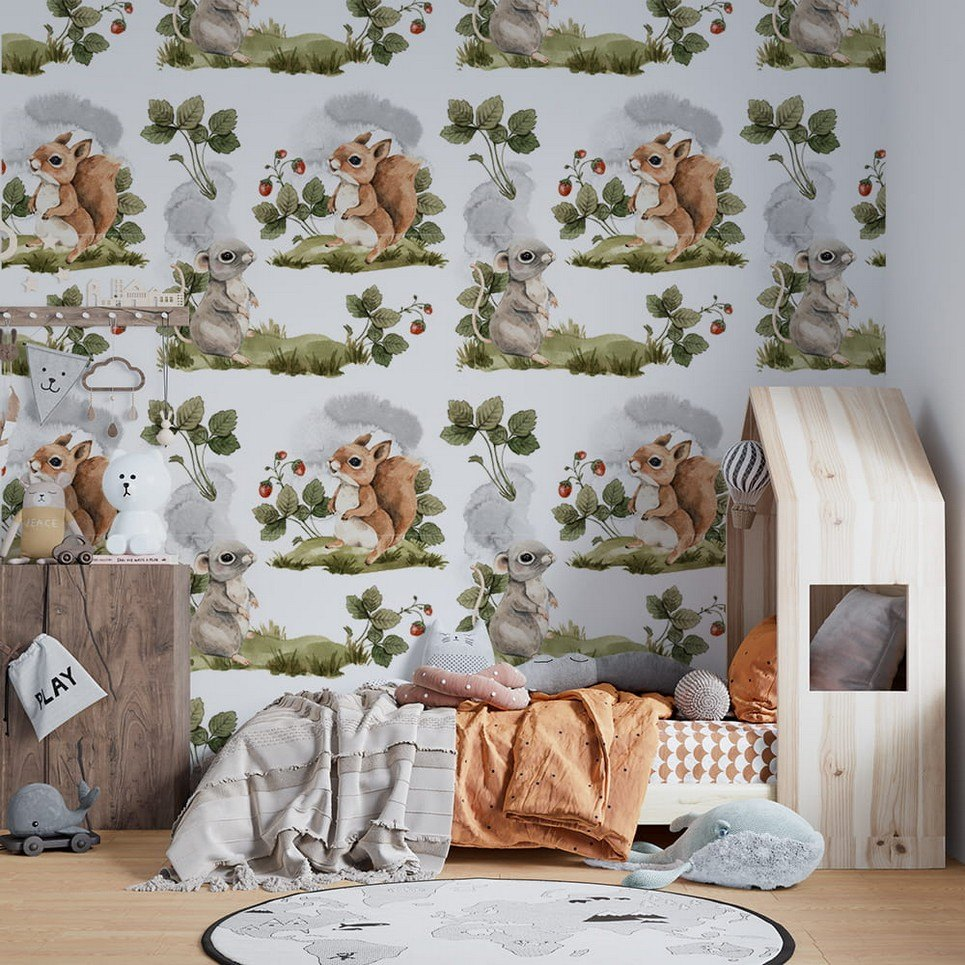 Spring Forest Meetings Children's Wallpaper