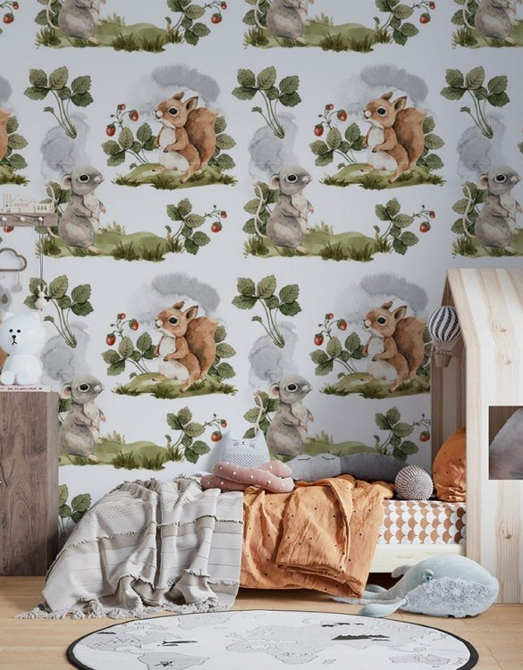 Sure to be adored by little ones, the Spring Forest Meetings Children's Wallpaper is a fun addition to any nursery or playroom. Go on an adventure with our kid's wallpaper for children's rooms! A well-chosen pattern can visually enlarge the interior.