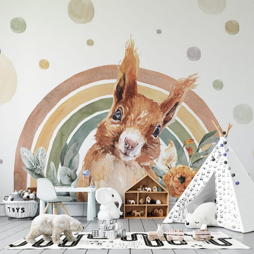 Squirrel – Rainbow Forest Children's Wallpaper